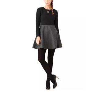 Kate Spade Saturday Dress 6 Black Gray Skirt Wool